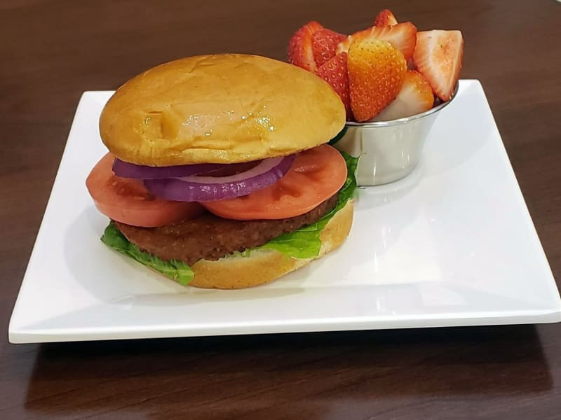 Veggie burger at Maple Ridge Senior Living