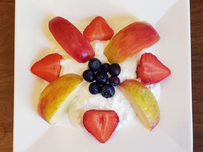 Cottage cheese and fruit plate at Lakeland Senior Living