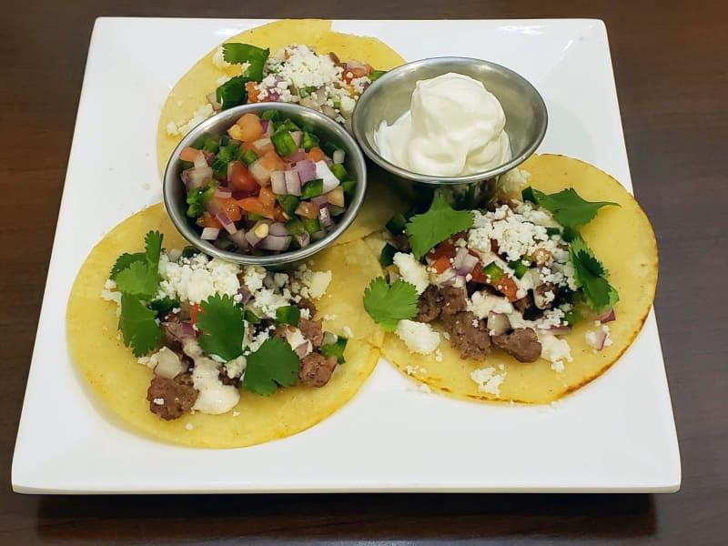 Ground beef street tacos at Lakeland Senior Living