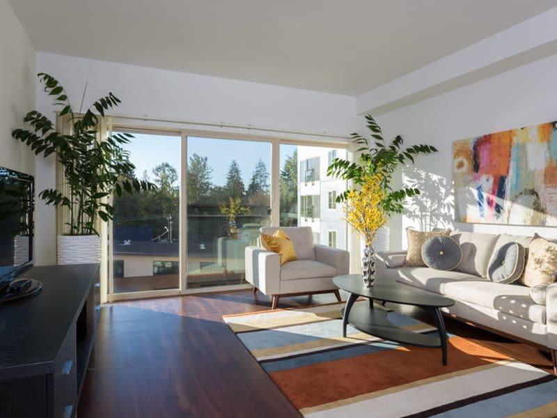 Model living area at Trillium Apartments in Edmonds, Washington
