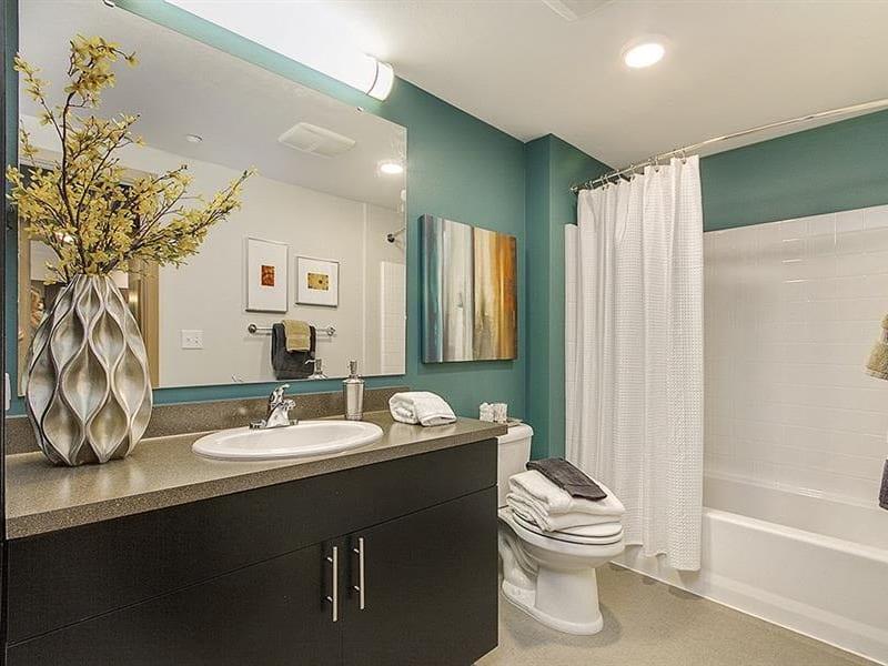 Model bathroom at Trillium Apartments in Edmonds, Washington