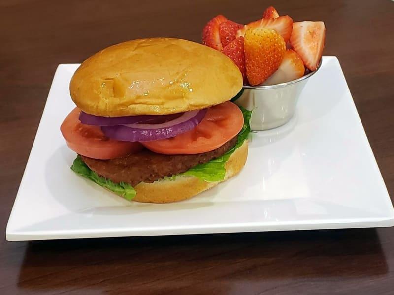 Veggie Burger at Heron Pointe Senior Living Dining