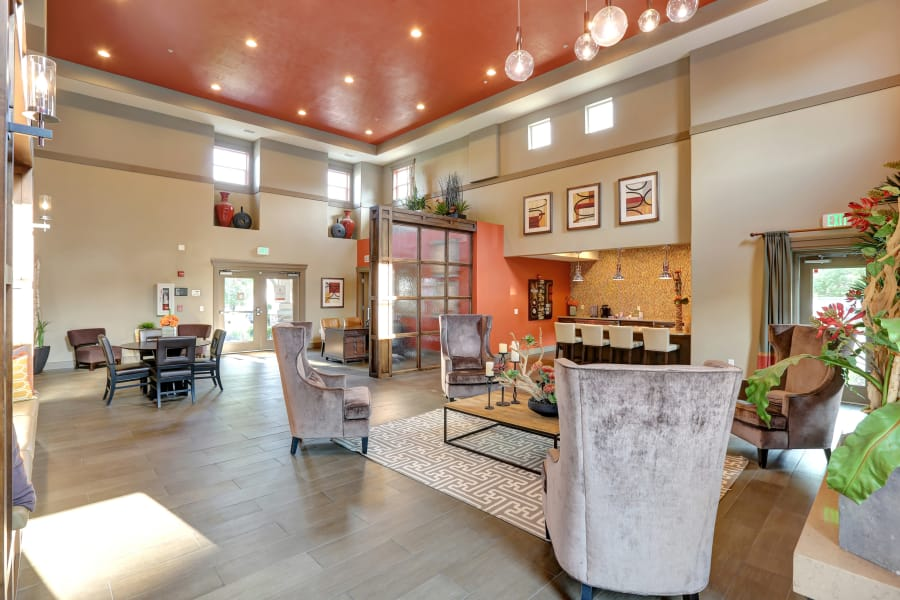 Clubhouse lobby at Meadowbrook Station Apartments in Salt Lake City , UT