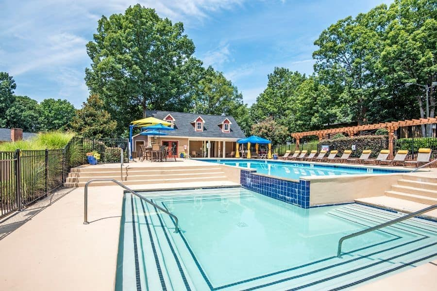 Beautiful swimming pool at Six Forks Station in Raleigh, NC