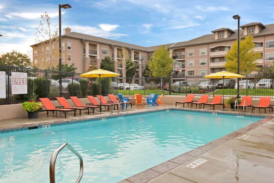 Relax poolside at Meadowbrook Station Apartments