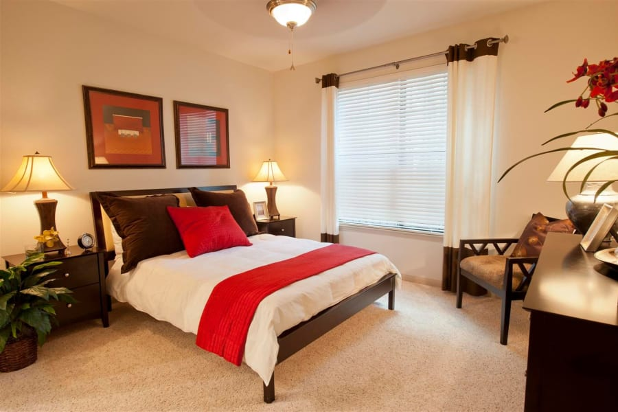 Spacious bedroom in model home at Villas at Bunker Hill