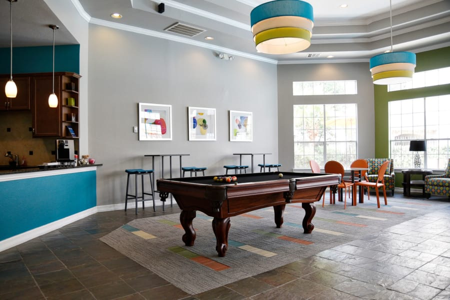 Billiards table from another angle in resident clubhouse at The Club at Stablechase