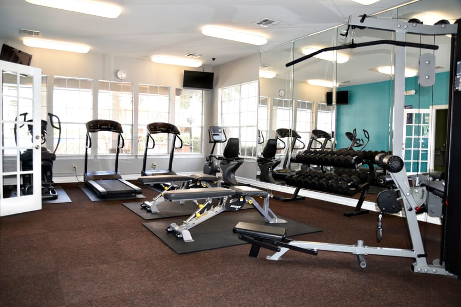 Well-equipped on-site fitness center at The Club at Stablechase