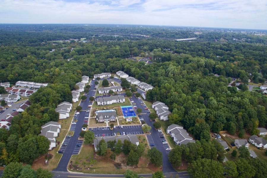 Zoomed out aerial view of The Residences of Westover Hills in Richmond, VA