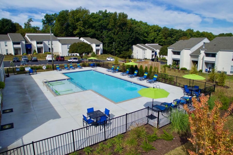 Beautiful swimming pool area at The Residences of Westover Hills in Richmond, VA