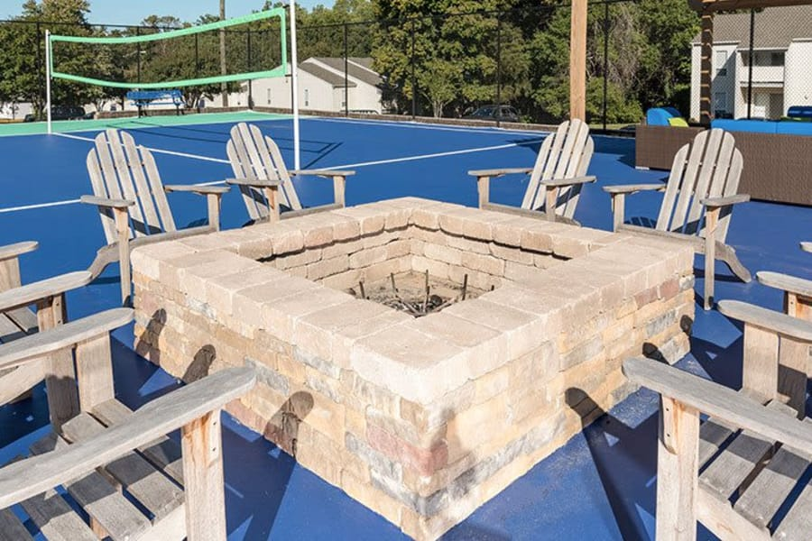 Closeup view of fire pit and surrounding seating at The Residences of Westover Hills in Richmond, VA