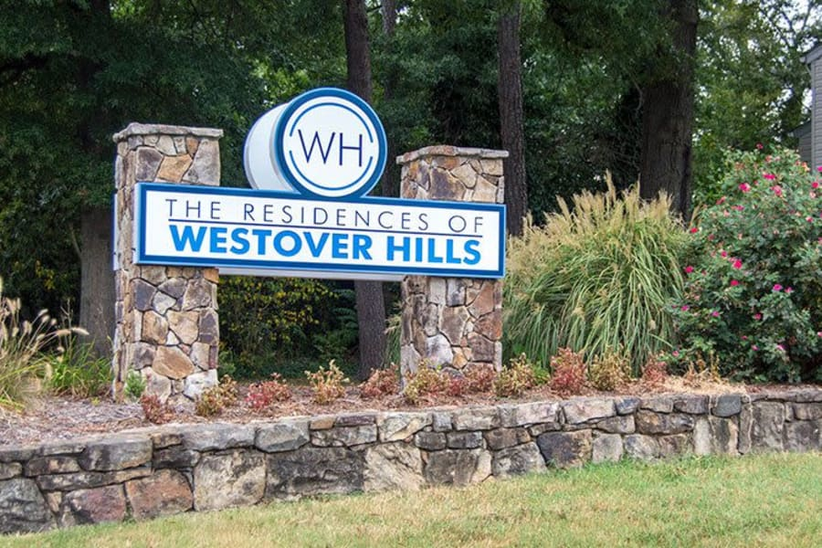Our sign at The Residences of Westover Hills as you enter our community in Richmond, VA