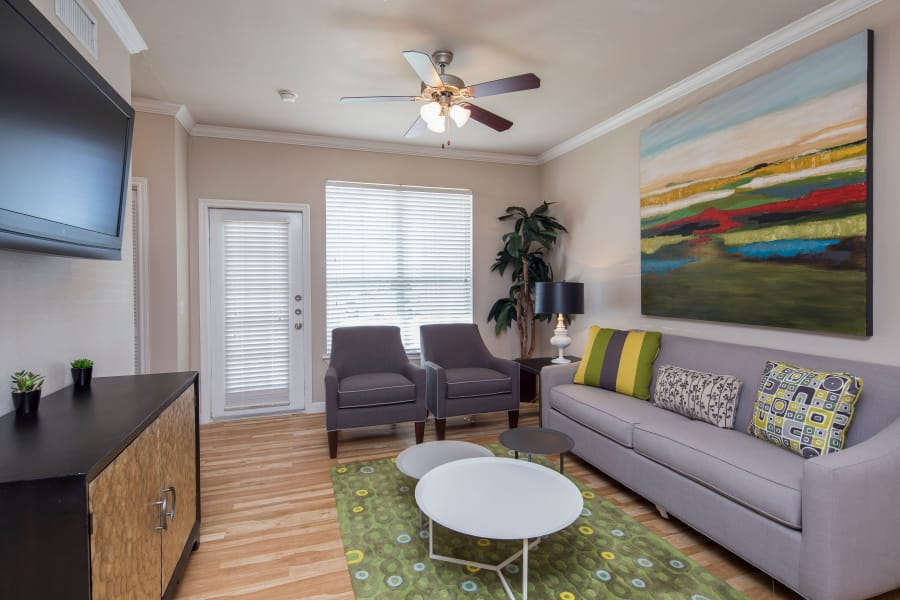 furnished apartment living room at Veranda in Texas City, Texas