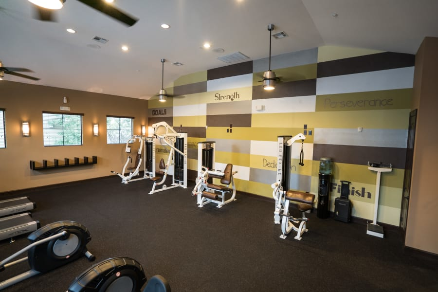 Strength training machines in the fitness center at Queenston Manor Apartments in Houston, Texas