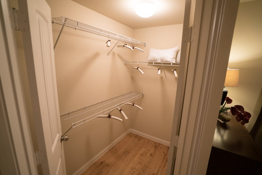Walk-in closets at Queenston Manor Apartments