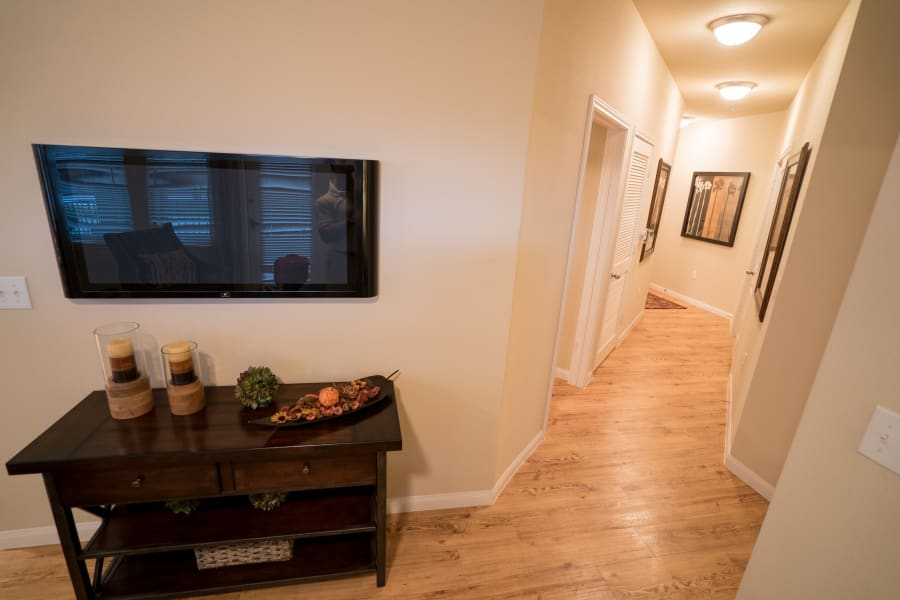 Hardwood floors at Queenston Manor Apartments in Houston, Texas