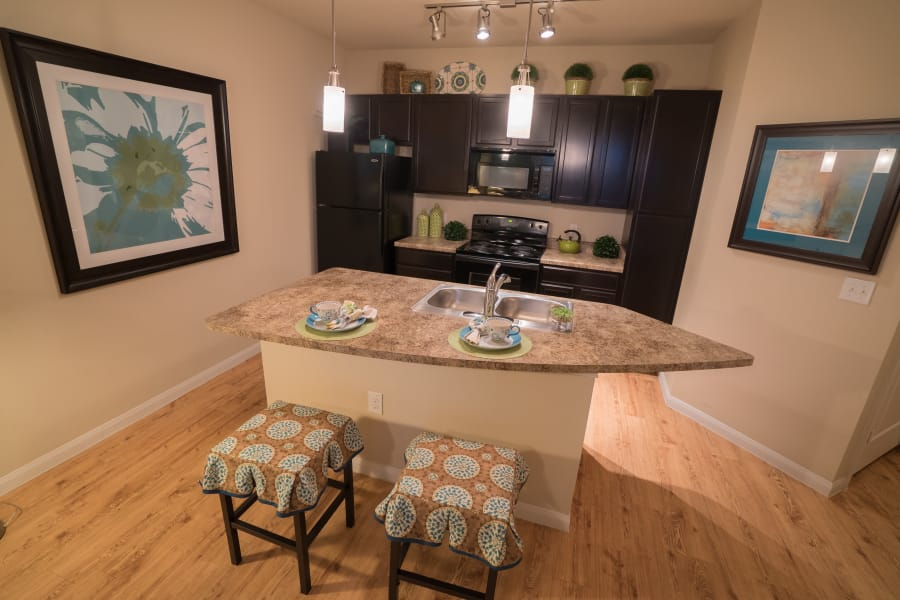 Kitchen at Queenston Manor Apartments in Houston, Texas