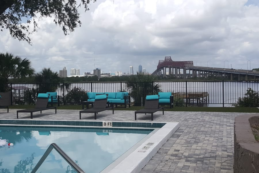 Newly renovated swimming pool at Pier 5350 in Jacksonville, Florida