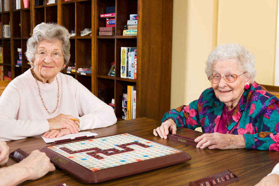 Residents playing scrabble at Traditions of Hershey in Palmyra, Pennsylvania
