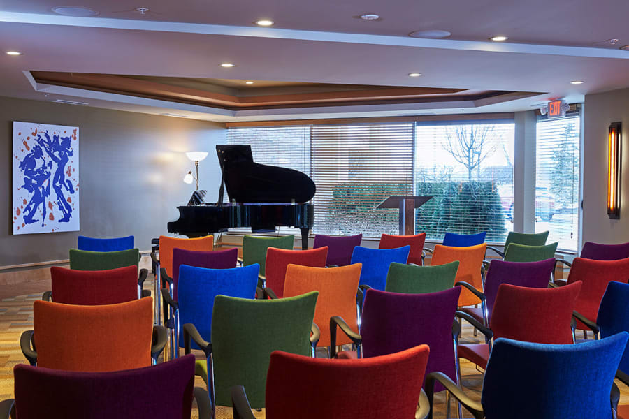 Grand piano with plenty of nearby seating at All Seasons Ann Arbor in Ann Arbor, Michigan