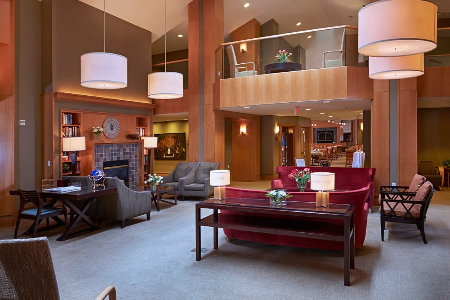 Lounge seating near the fireplace at All Seasons Ann Arbor in Ann Arbor, Michigan