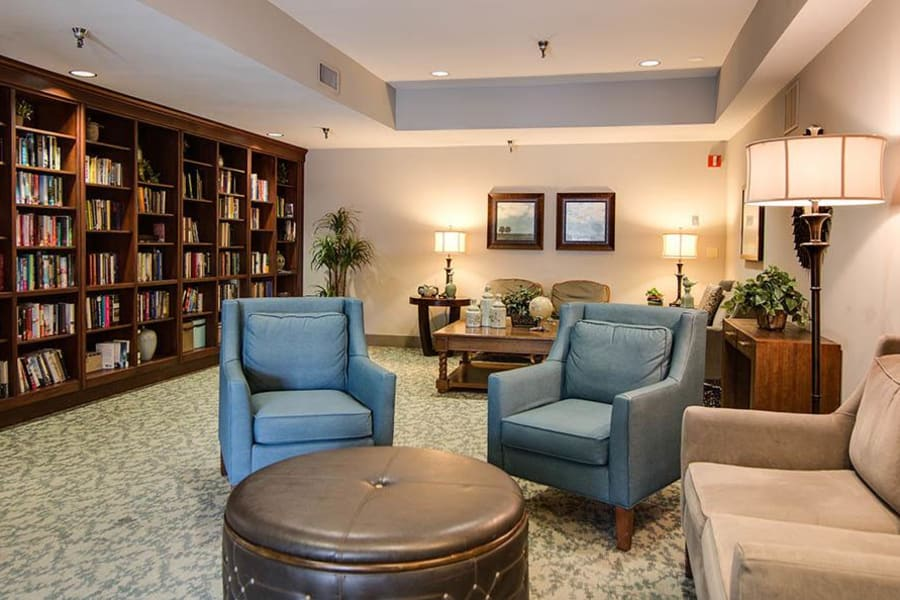 Contemporary library with comfortable couch seating at The Commons at Woodland Hills in Woodland Hills, California