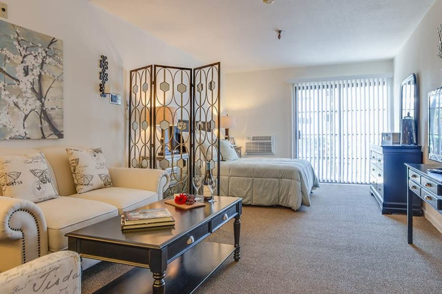 Beautifully decorated studio space in model home of The Commons at Woodland Hills' senior living building in Woodland Hills, California