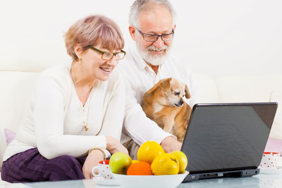 Residents surfing the web with their dog at All Seasons Oro Valley in Oro Valley, Arizona