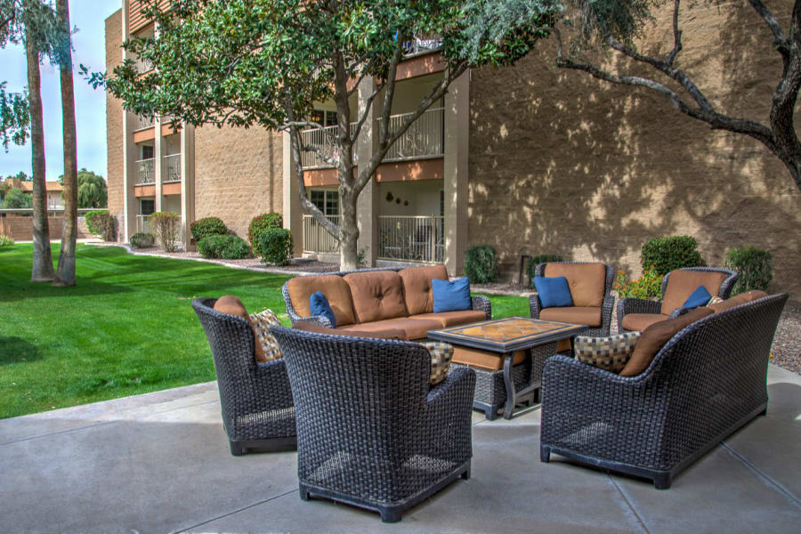 Comfortable place to visit with family and friends at an outdoor common area at Bella Vista Senior Living in Mesa, Arizona