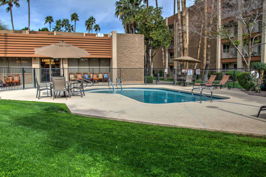 Swimming pool area at Bella Vista Senior Living in Mesa, Arizona