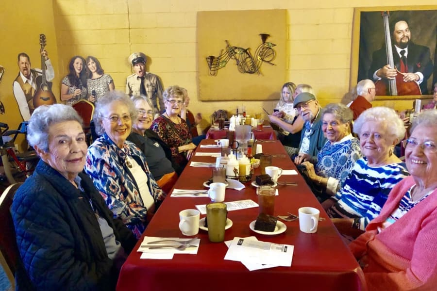 Photo of the group at the Barleens Dinner Show outing from Bella Vista Senior Living in Mesa, Arizona