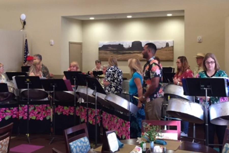 Desert Winds Steel Orchestra performing at Casa Del Rio Senior Living in Peoria, Arizona