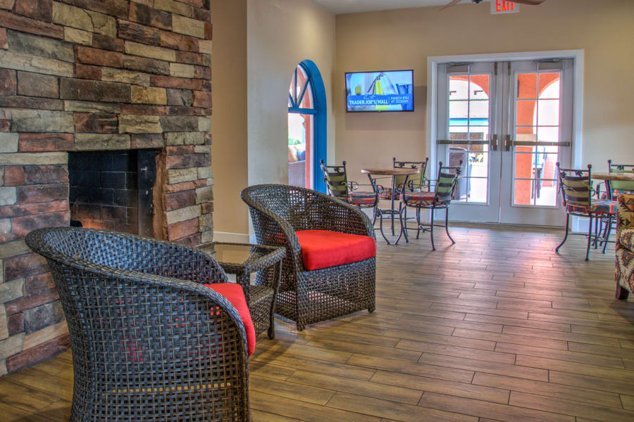 Fireplace area at Casa Del Rio Senior Living in Peoria, Arizona