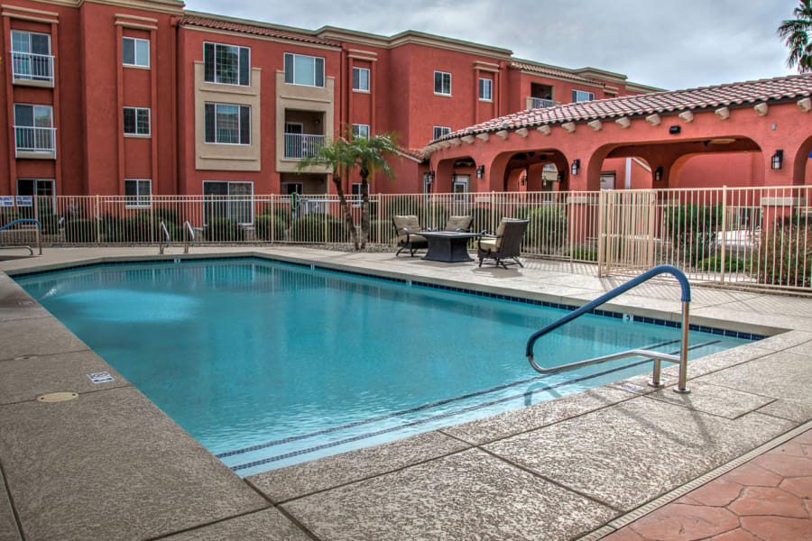 Resort-style swimming pool at Casa Del Rio Senior Living in Peoria, Arizona