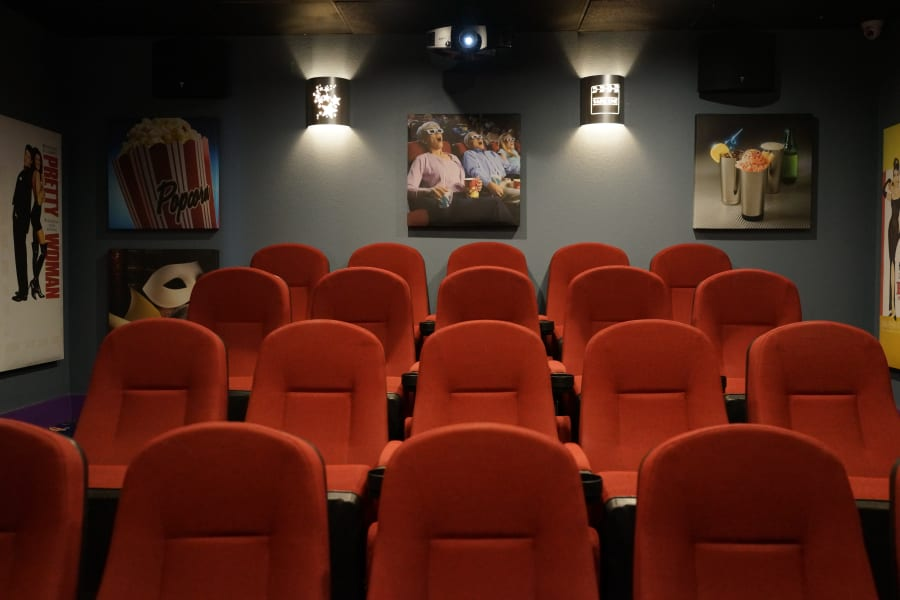 Onsite movie theater at Casa Del Rio Senior Living in Peoria, Arizona