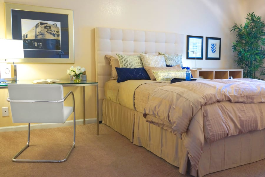 Bright and spacious bedroom in a resident home at Casa Del Rio Senior Living in Peoria, Arizona