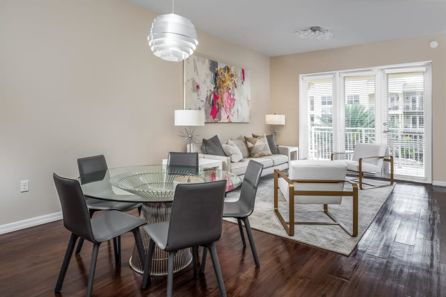 Spacious open-concept layout in a model senior apartments at Riverwalk Pointe in Jupiter, Florida