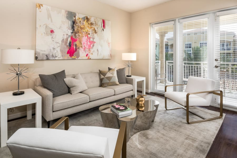 Cozy living space in a model senior apartment at Riverwalk Pointe in Jupiter, Florida