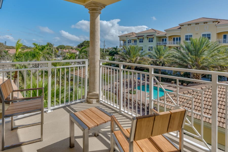 Private balcony with a beautiful view at Riverwalk Pointe in Jupiter, Florida