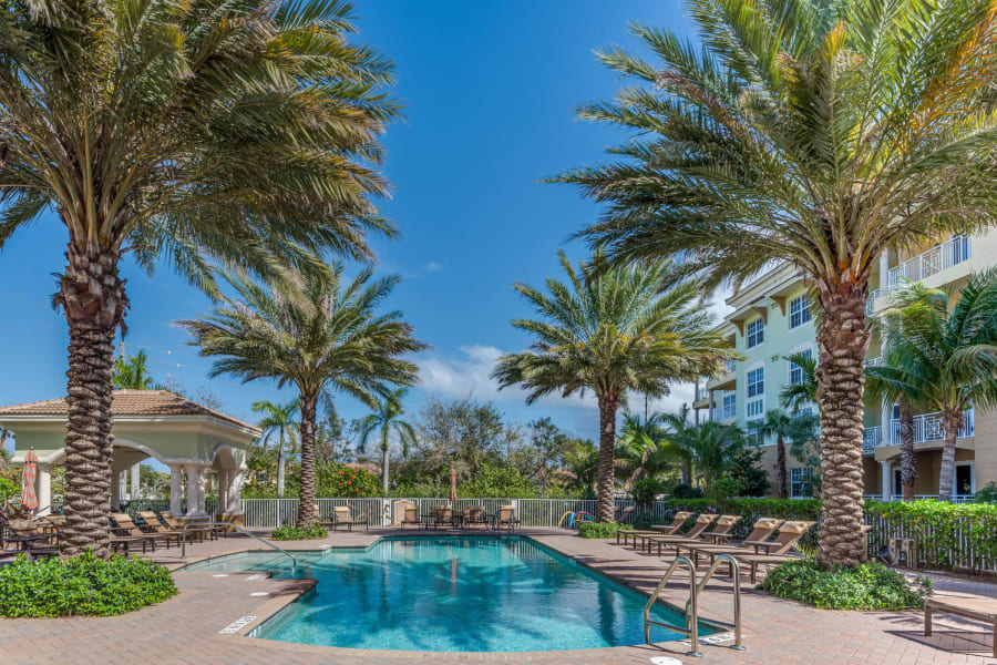 Resort-style swimming pool area at Riverwalk Pointe in Jupiter, Florida