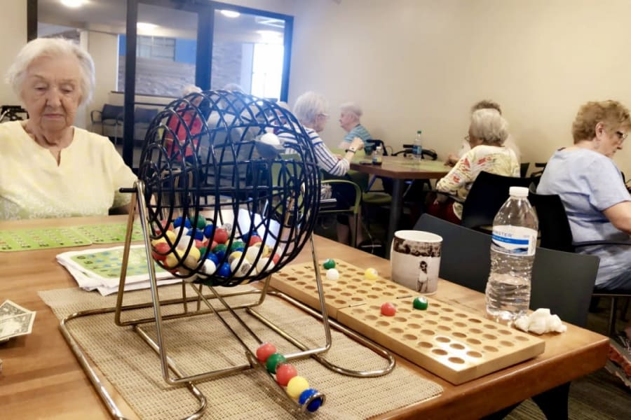 Bingo night at Bella Vista Senior Living in Mesa, Arizona