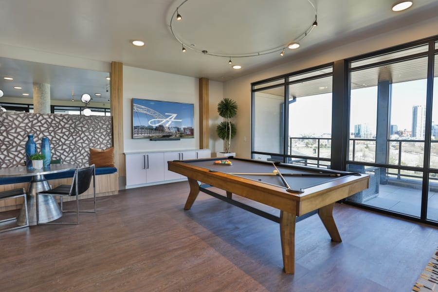Pool table with a sophisticated style The Alcott in Denver, Colorado