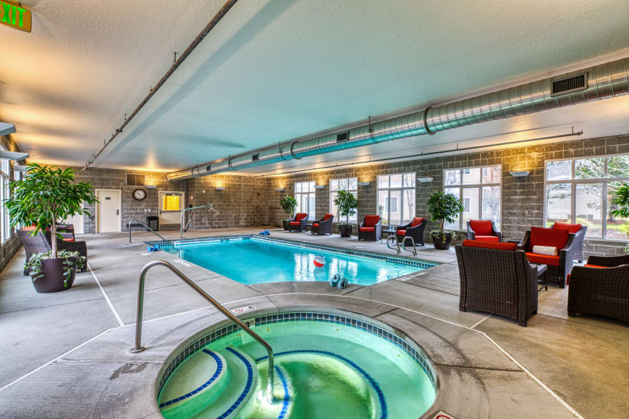 A hot tub and pool at a Careage community.