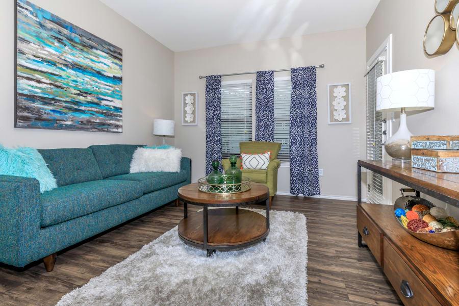 Bright living room at APEX in San Antonio, Texas