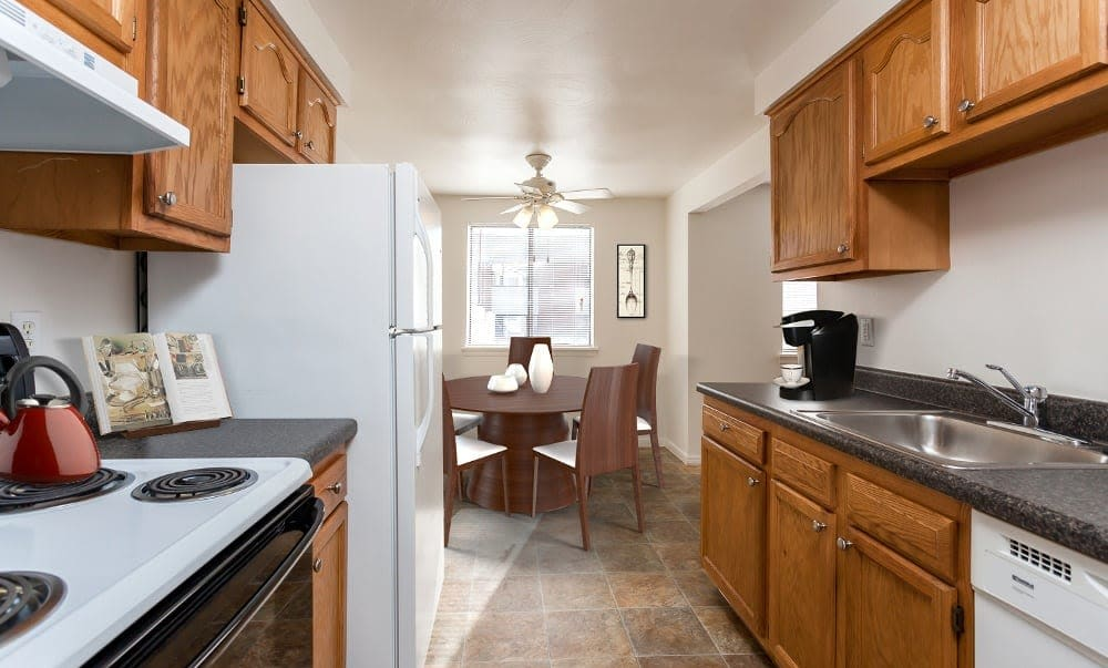 Beautifully designed kitchen at East Ridge Manor Apartments in Rochester, New York