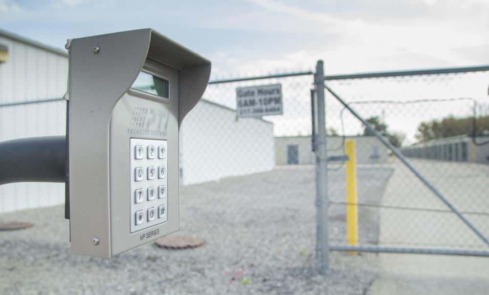 Gate access to Prime Storage in Bondville, Illinois