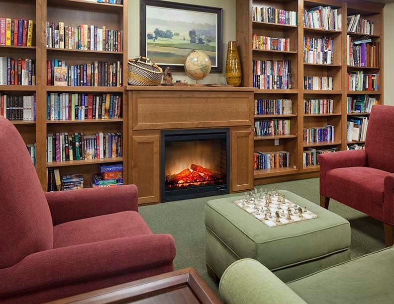 Large library at Affinity at Boise