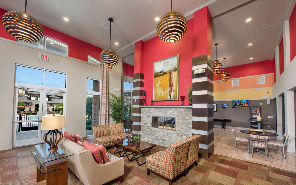 Luxurious and colorful resident clubhouse at The Courtney at Universal Boulevard in Orlando, Florida