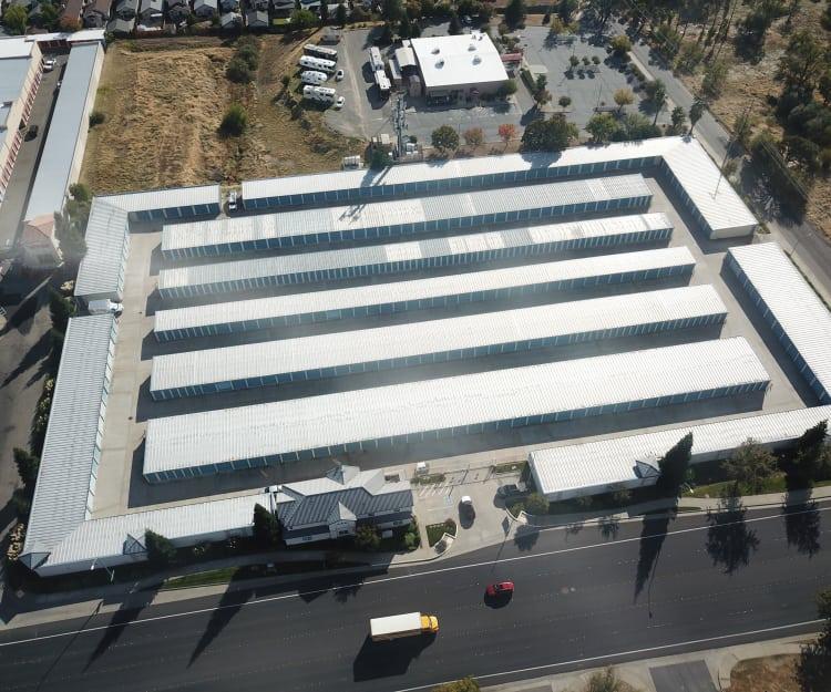 Sky view of Sundance Self Storage in Roseville, California