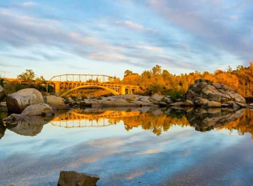 Sacramento river and bridge  at Golden Pond Retirement Community in Sacramento, California